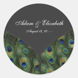 Black Peacock Wedding Favor Label Sticker