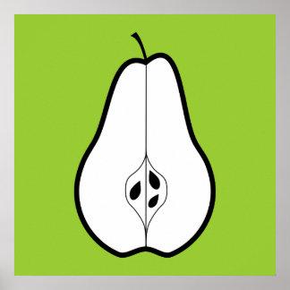 Black Pear Half. Line illustration. Poster