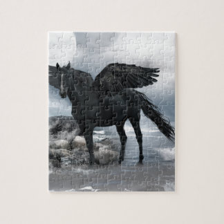 black Pegasus horse Jigsaw Puzzle