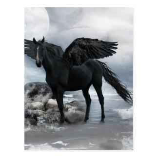 black Pegasus horse Postcard
