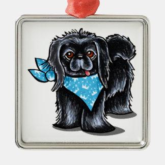 Black Pekingese Boy Blue Prince Silver-Colored Square Decoration