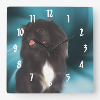Black Pekingese Dog Art Clocks
