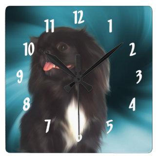 Black Pekingese Dog Art Square Wall Clock