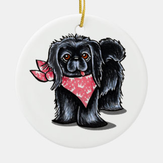 Black Pekingese Pink Princess Round Ceramic Decoration