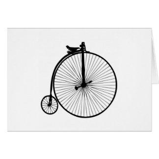 Black penny farthing vintage bike card
