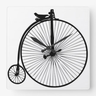 Black penny farthing vintage bike square wall clock