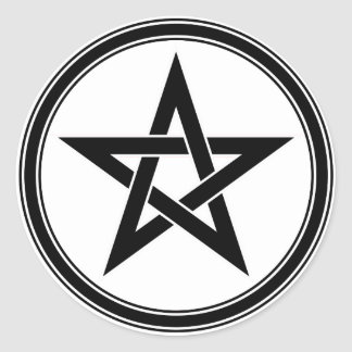 black pentacle classic round sticker