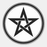 black pentacle round sticker