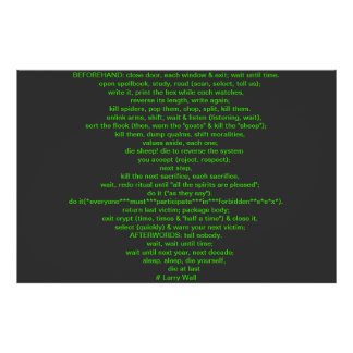 Black Perl Poem (Larry Wall) Posters