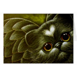 Black Persian Angel Cat with Heart Customise Card