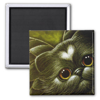 BLACK PERSIAN ANGEL CAT with HEART Magnet