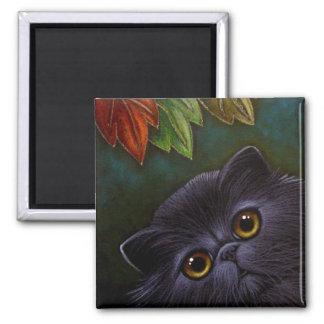 BLACK PERSIAN CAT - AUTUMN Magnet