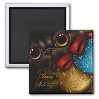 BLACK PERSIAN CAT HOLIDAY Magnet