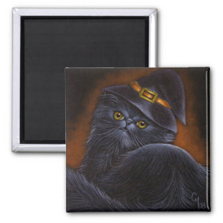 Black Persian Cat  with Witch Hat - Magnet