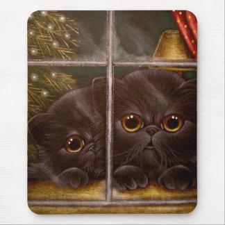 BLACK PERSIAN KITTEN CATS - 1ST CHRISTMAS MOUSE MAT
