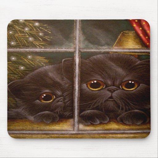 BLACK PERSIAN KITTEN CATS - 1ST CHRISTMAS MOUSE MATS