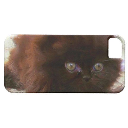 Black persian kitten iPhone 5 cases