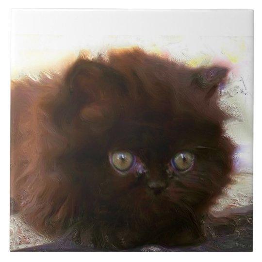 Black persian kitten large square tile