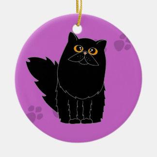 Black Persian / Longhaired Cat Pawprint Christmas Ornament