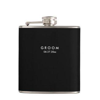 Black Personalised Flasks Wedding Gifts For Groom