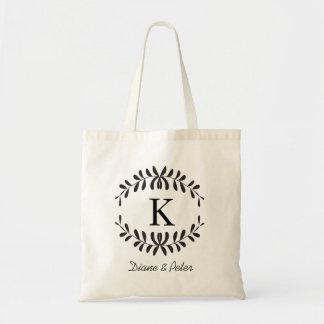 Black Personalised Monogram Wedding Favour Budget Tote Bag