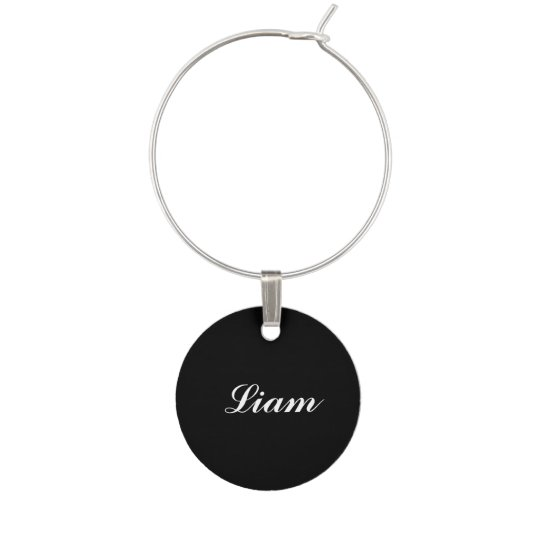 Black Personalised Wine Charm