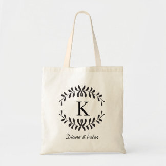 Black Personalized Monogram Wedding Favour Budget Tote Bag