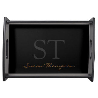 black personalized name & initials food trays