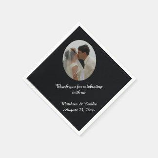 Black Personalized Wedding Photo Napkins Disposable Napkin