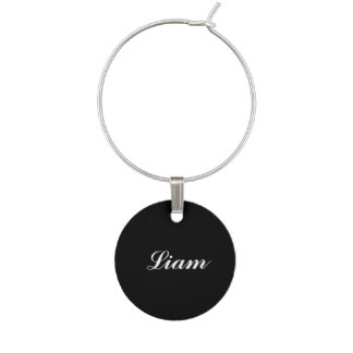 Black Personalized Wine Charm
