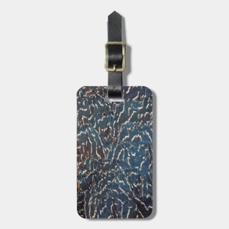 Black Pheasant Feather Abstract Luggage Tag