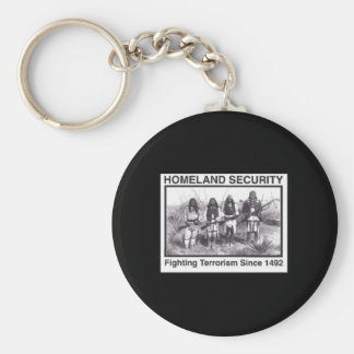 Black Photo Indian Homeland Security Basic Round Button Key Ring
