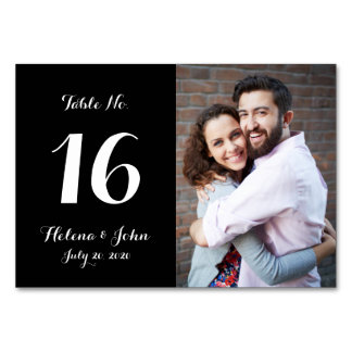 Black Photo Wedding Table Number Card