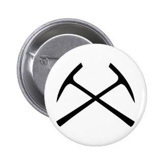 black pickax crossed 6 cm round badge