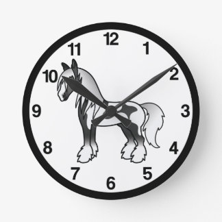 Black Piebald Cartoon Gypsy Vanner Shire Horse Round Clock