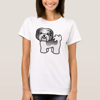 Black Piebald Cartoon Havanese T-Shirt