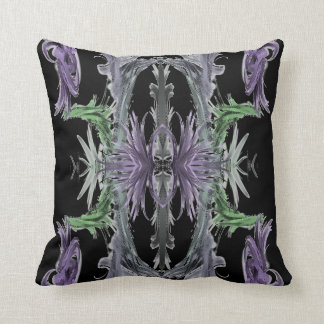 Black pillow with lilac and green pattern