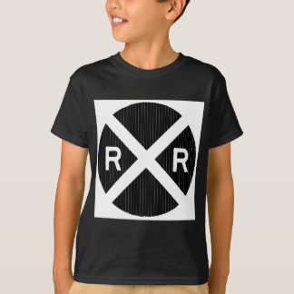 Black Pin Stripe Railroad Crossing Sign T Shirts