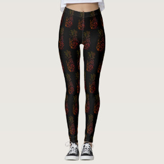 Black Pineapple Patterned Leggings