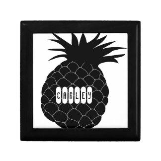 Black Pineapple Small Square Gift Box