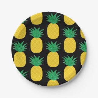 Black Pineapple Tropical Paper Plate