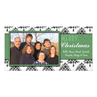 Black Pines Damask Green Trim Merry Christmas Card