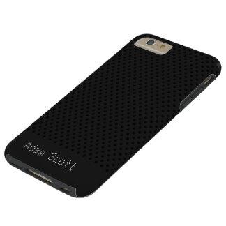 Black Pinhole Carbon Fiber Graphite Polymer Tough iPhone 6 Plus Case