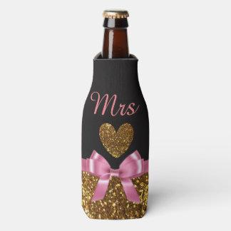 """Black Pink and Gold Bottle Cooler Oozie """"Mrs"""""""