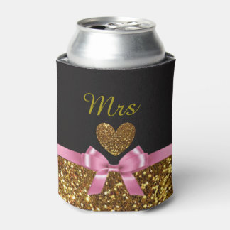 """Black Pink and Gold Can Cooler Oozie """"Mrs"""""""