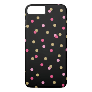 Black Pink and Gold Confetti Dots iPhone 7 Plus Case