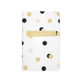 Black Pink and Gold Polka Dot Monogram Journal