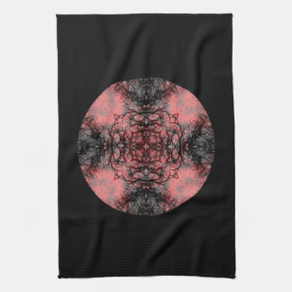 Black, Pink and Gray Gothic Pattern. Tea Towel