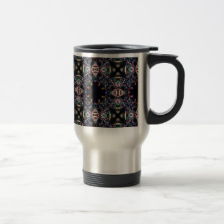Black Pink and Green Mandala Fractal Pattern Travel Mug