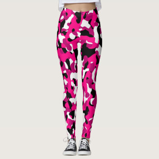 Black pink and white camo leggings